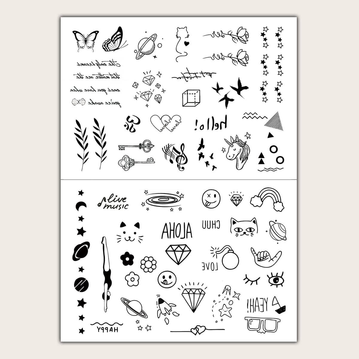 Стикер татуировки с узором бабочки и птицы 2 листа