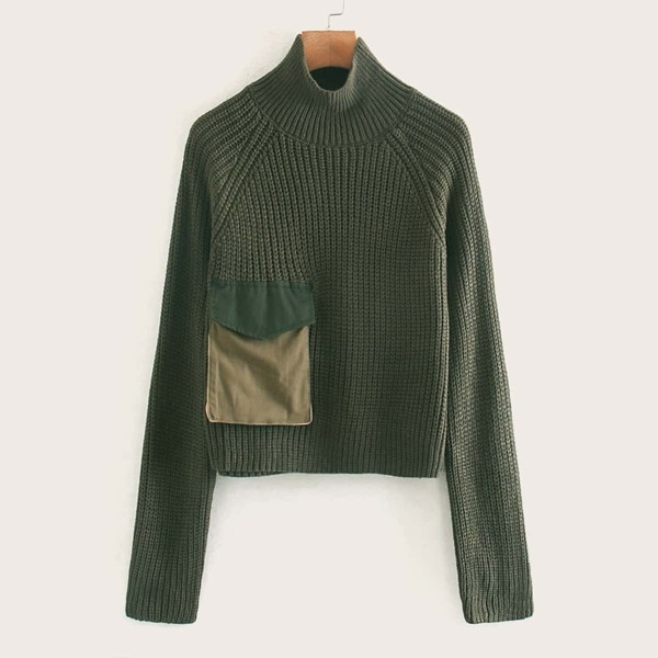 Pocket Patched Ribbed Knit Sweater, Army green