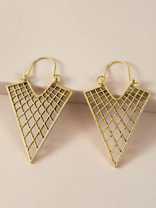 1pair Vintage Hollow Out Triangle Drop Earrings, Gold