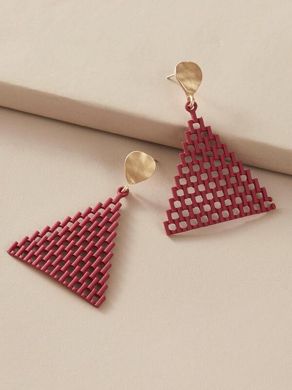 1pair Hollow Out Triangle Drop Earrings, Red