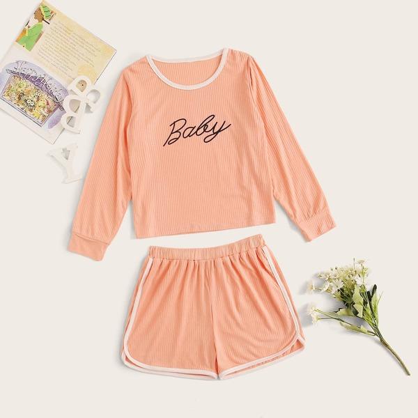 Girls Rib Letter Graphic PJ Set, Pink