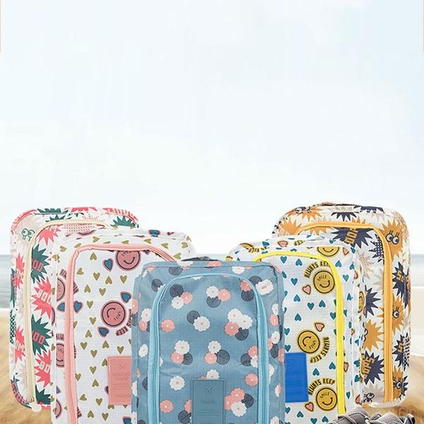 1pc Random Floral Print Portable Shoes Storage Bag, Multicolor