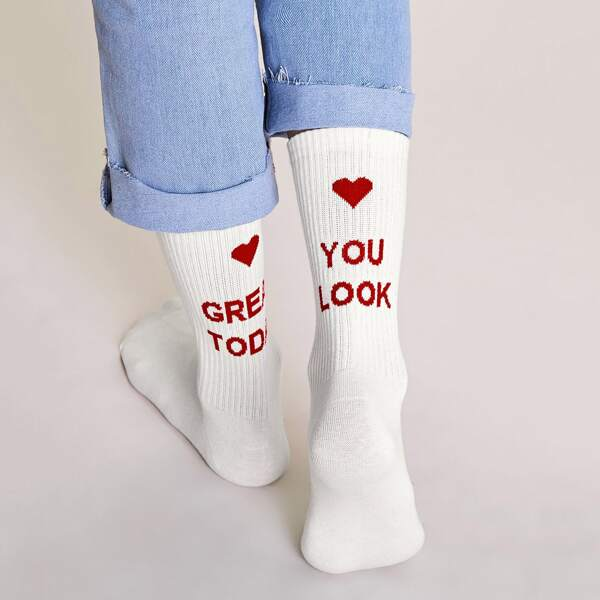 1pair Slogan Graphic Socks, White