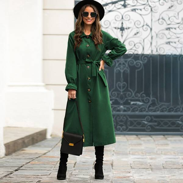 Self Tie Flounce Sleeve Button Up Trench Coat, Green