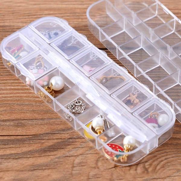 1pc Clear Multi-compartment Jewelry Storage Box