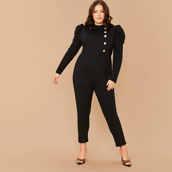 Plus Gold Button Detail Gigot Sleeve Split Hem Jumpsuit, Black