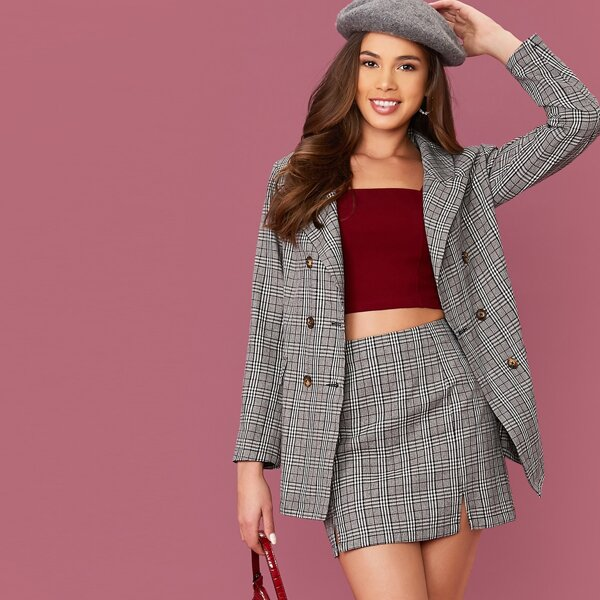Notched Collar Double Breasted Plaid Blazer & Skirt Set, Grey