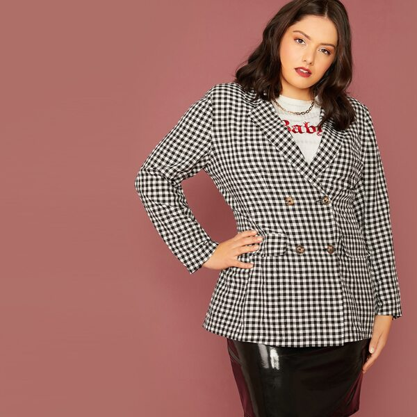 Plus Notched Collar Double Breasted Gingham Blazer, Black and white