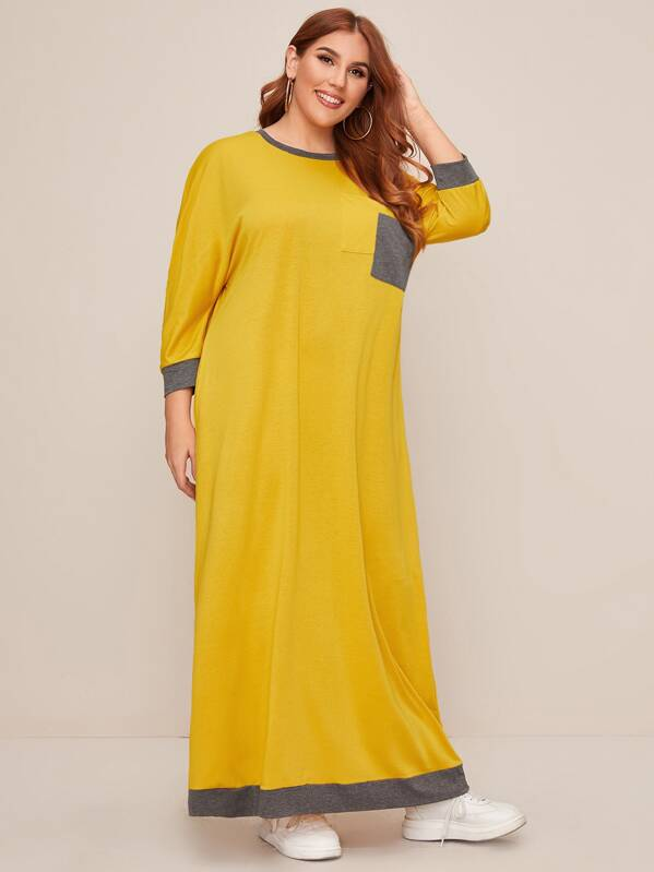 Plus Contrast Panel Maxi Tee Dress, Yellow, Mafe