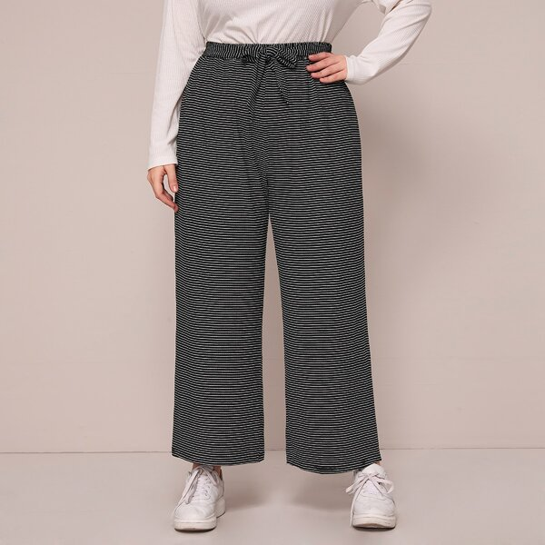 Plus Striped Belted Wide Leg Pants, Black and white
