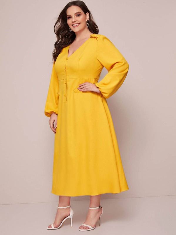 Plus V-neck Frill Trim A-line Dress, Yellow, Ella