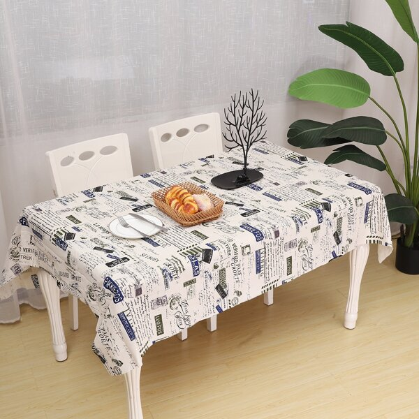 Newspaper Pattern Print Tablecloth, Multicolor