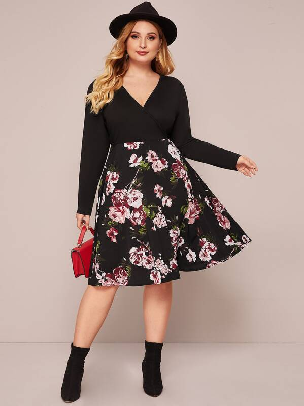 Plus Wrap Front Floral Combo Dress, Black, Nora