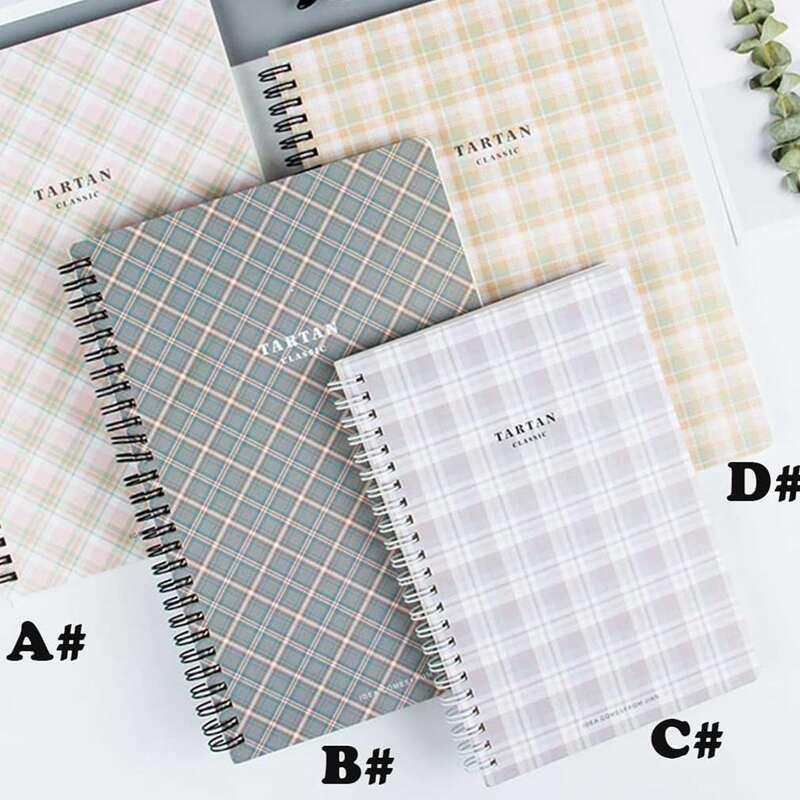 1pack Tartan Pattern Cover Spiral Notebook