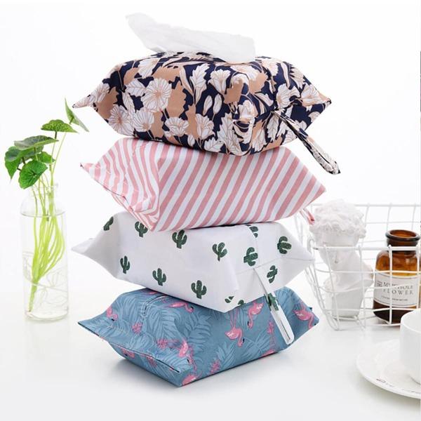 1pc Random Tropical Pattern Tissue Storage Bag, Multicolor