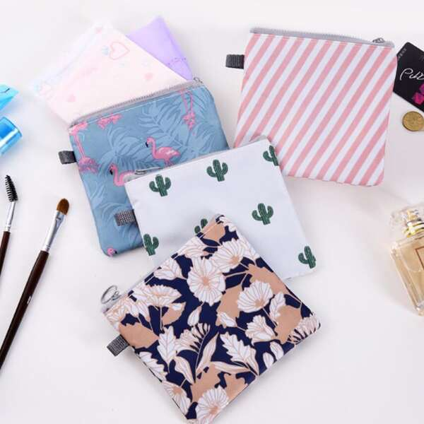 1pc Random Tropical Pattern Sanitary Napkin Storage Bag, Multicolor