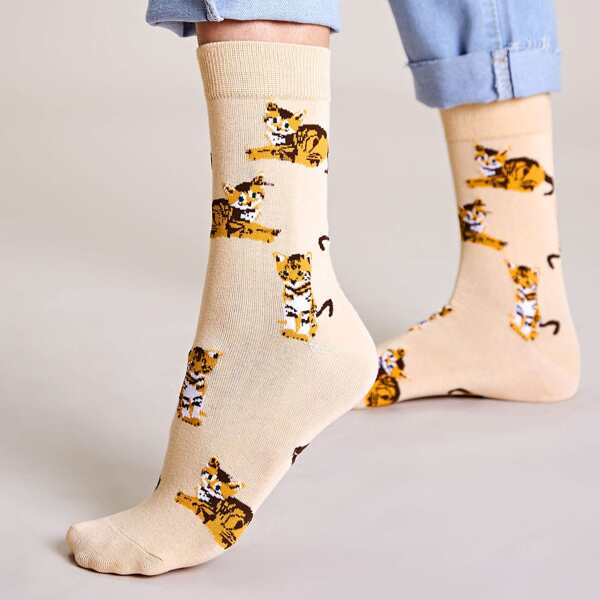 1pair Cartoon Graphic Socks, Multicolor
