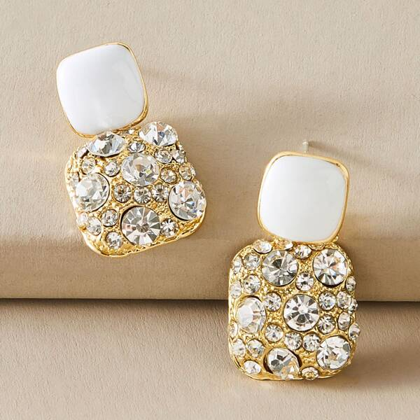 1pair Color Block Rhinestone Engraved Geometric Drop Earrings, Multicolor