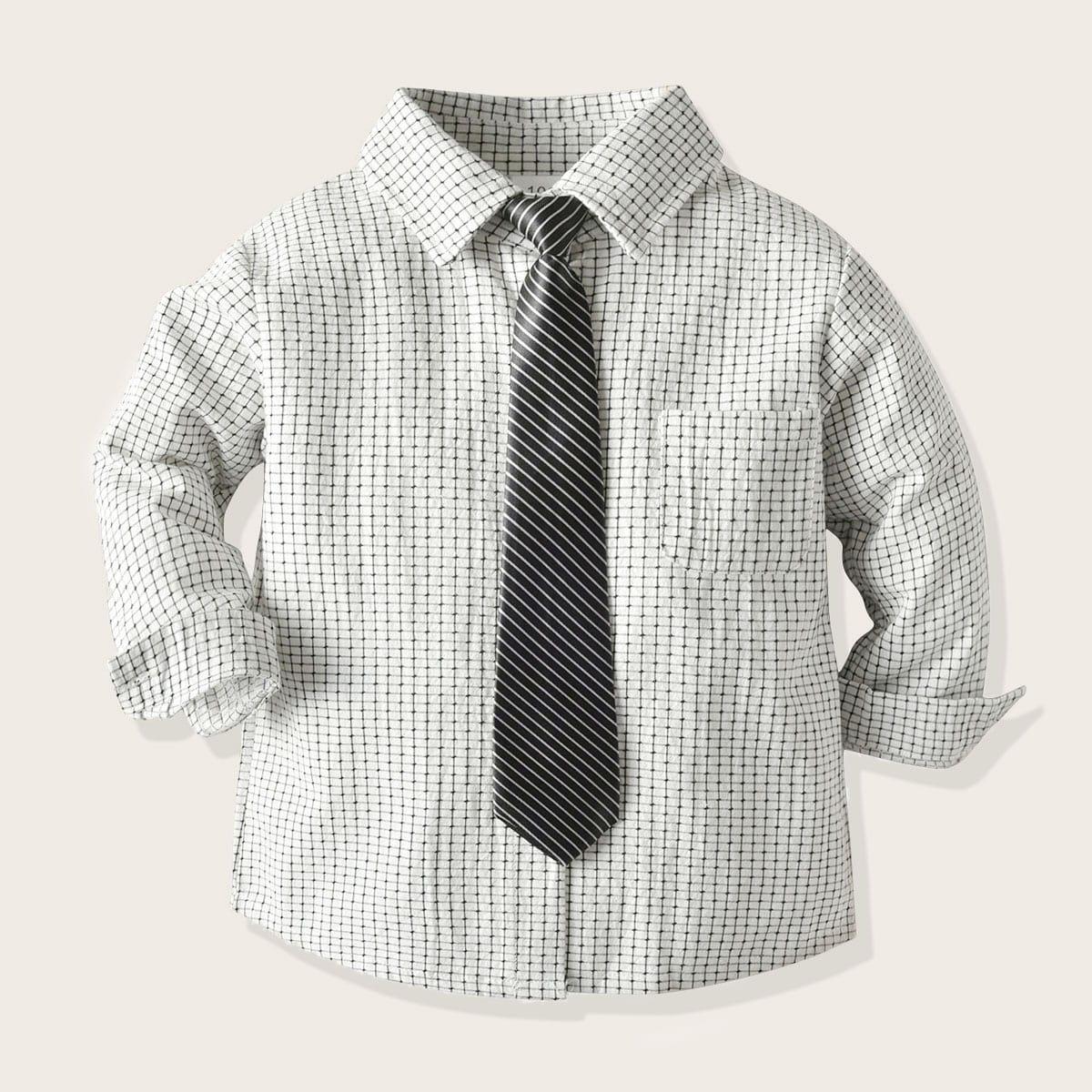 Рубашка в клетку с галстуком для мальчиков от SHEIN