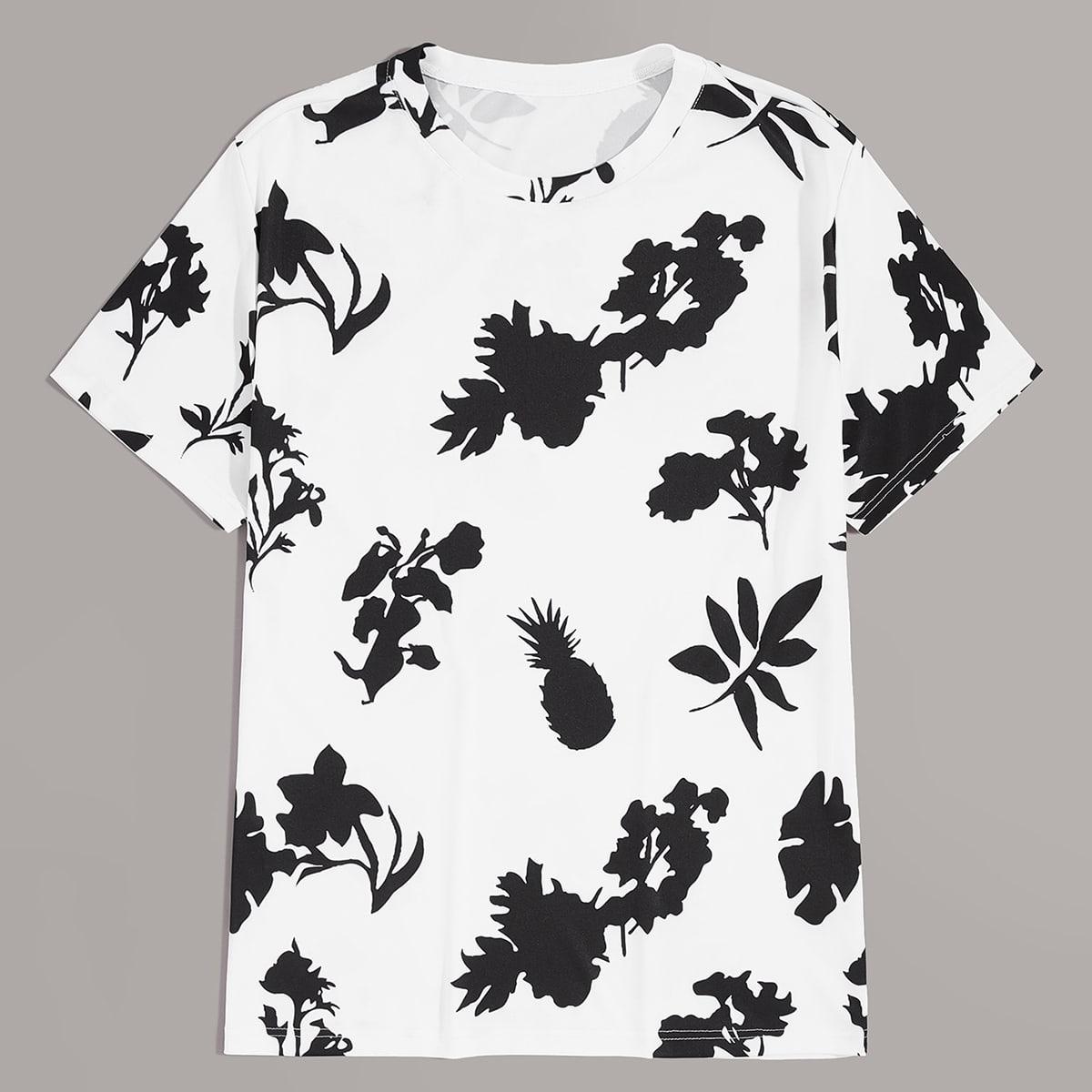 Мужская футболка с принтом растения и ананаса фото