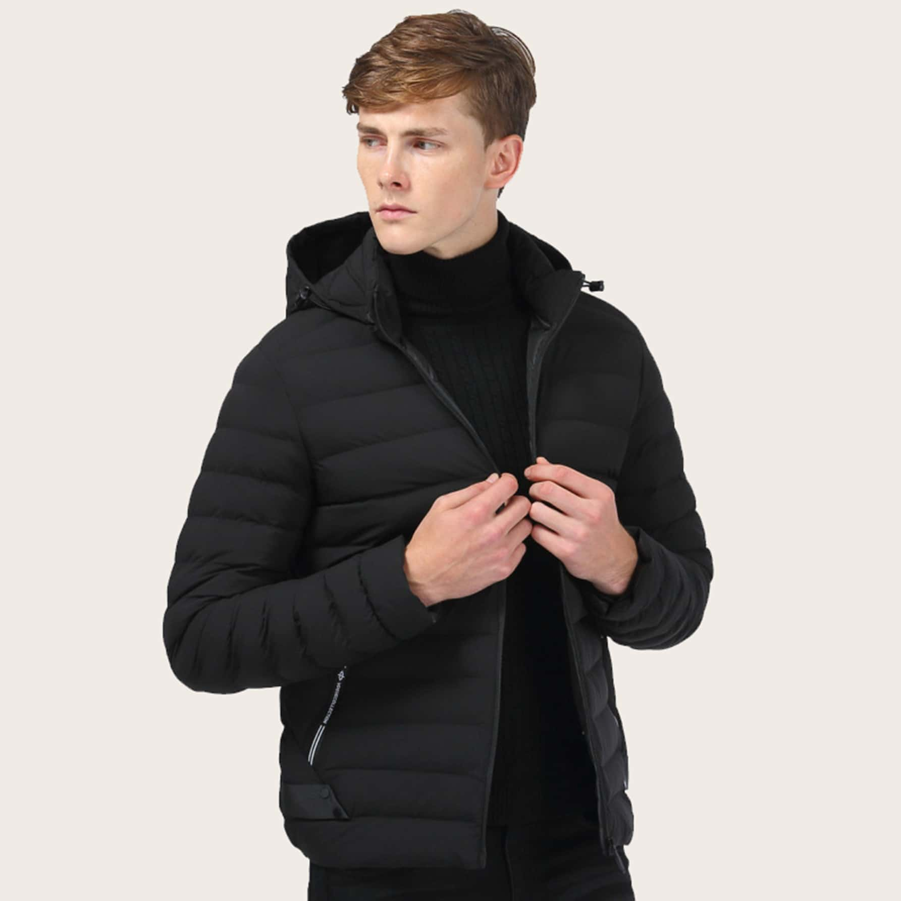 Men Zip Through Hooded Padded Jacket