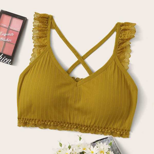 Lace Trim Criss Cross Bralette, Yellow