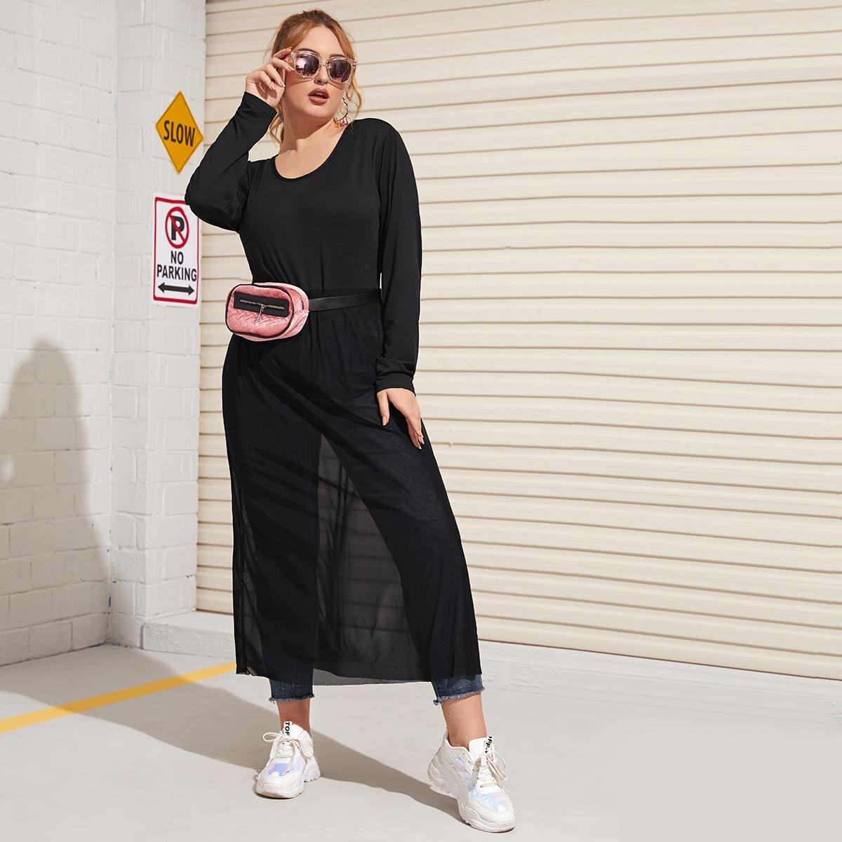 Zwart Casual Vlak Bodysuits grote maten Contrast mesh