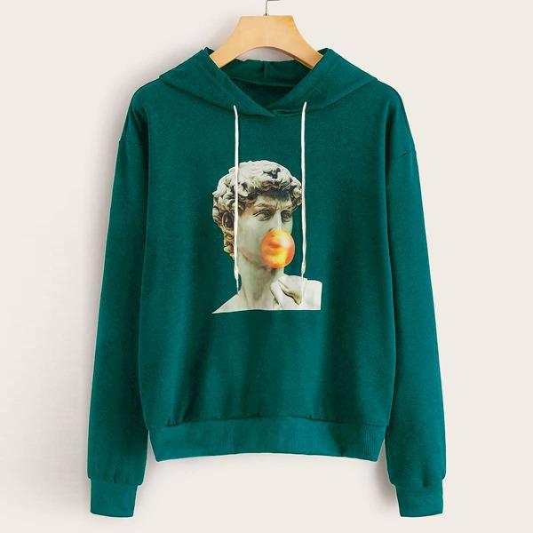 Figure Graphic Drawstring Hooded Sweatshirt, Green