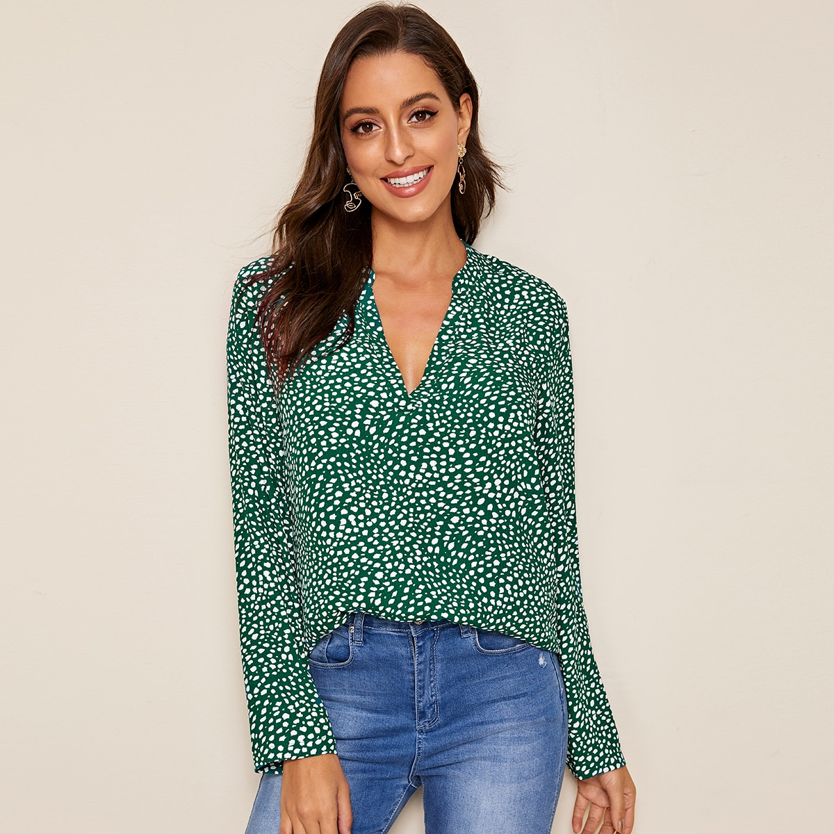 Notched Neck Dalmatian Print Top