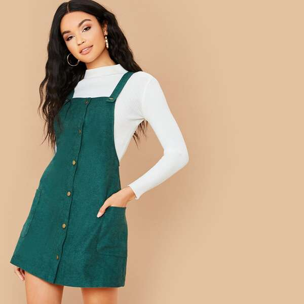 Button Front Pocket Patched Corduroy Pinafore Dress, Green