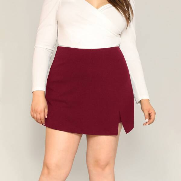 Plus Split Hem Solid Skort, Burgundy