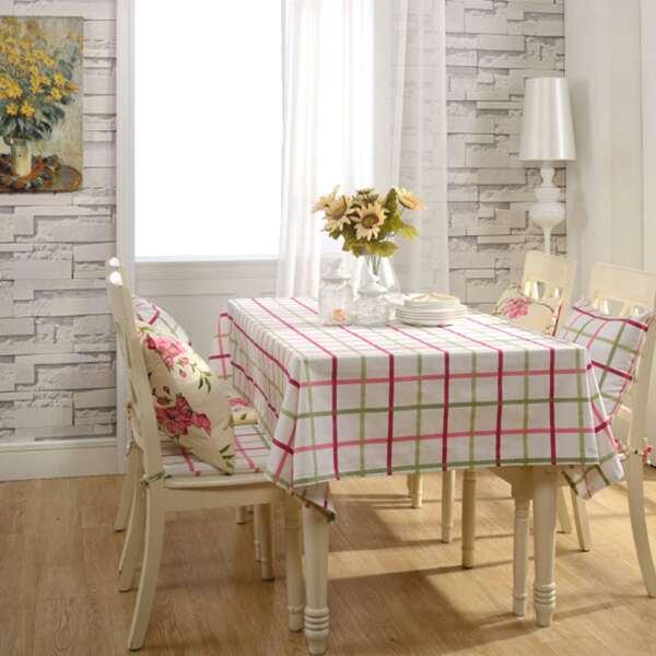 Plaid Pattern Print Tablecloth, Multicolor