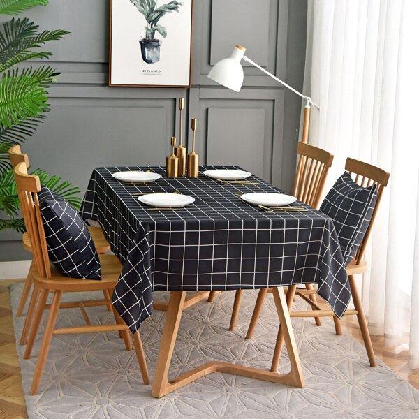 Plaid Pattern Print Tablecloth, Black