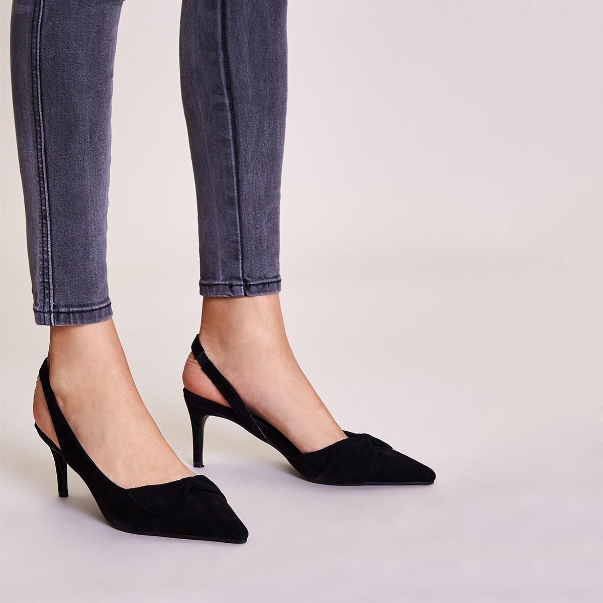 Остроконечные туфли на шпильках с открытой пяткой фото