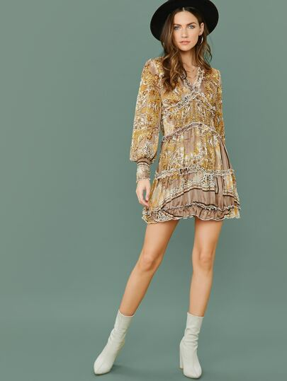 SheIn / Lantern Sleeve Frill Trim Shirred Waist Scarf Print Dress