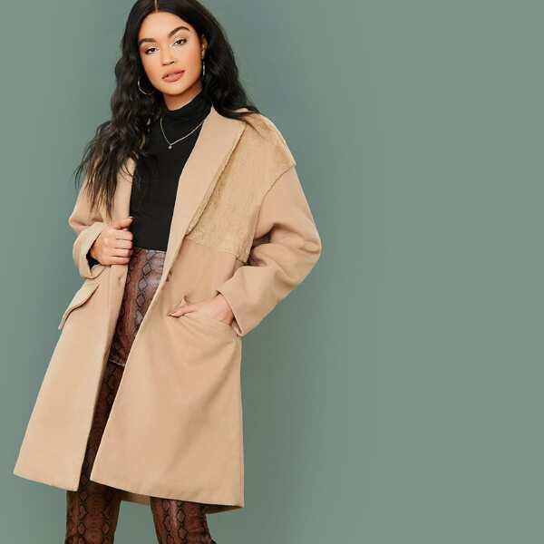 Lapel Collar Faux Fur Detail Flap Pocket Coat, Camel