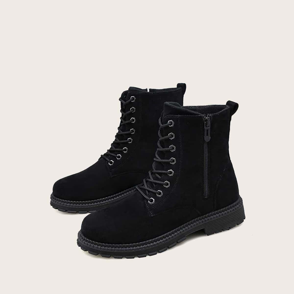 SHEIN / Men Lace-up Front Suede Combat Boots