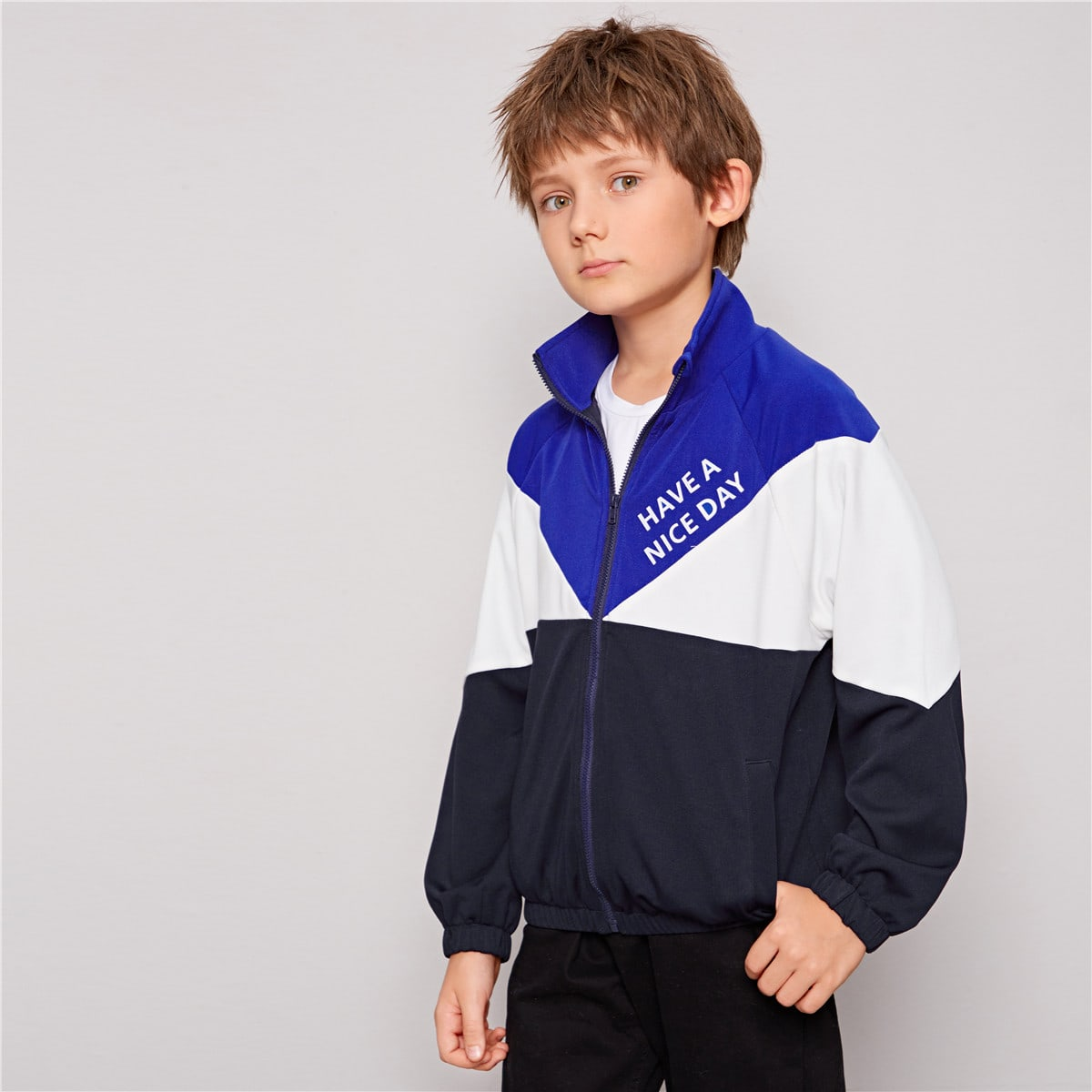 Контрастная куртка с текстовым принтом и молнией для мальчиков от SHEIN
