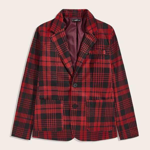 Men Notched Collar Pocket Front Plaid Blazer, Red