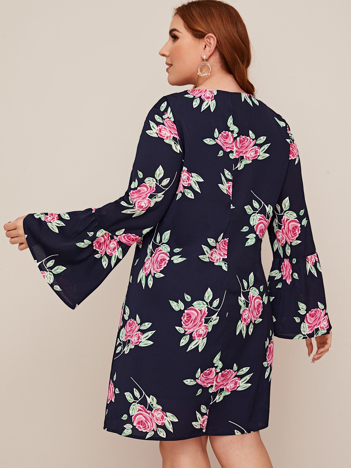 SHEIN / Plus Lace Up Neck Bell Sleeve Floral Print Dress