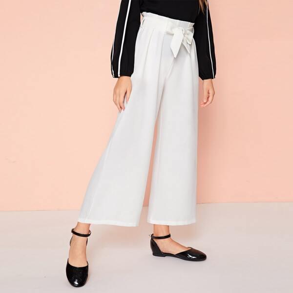 Girls Paperbag Waist Belted Wide Leg Pants, White