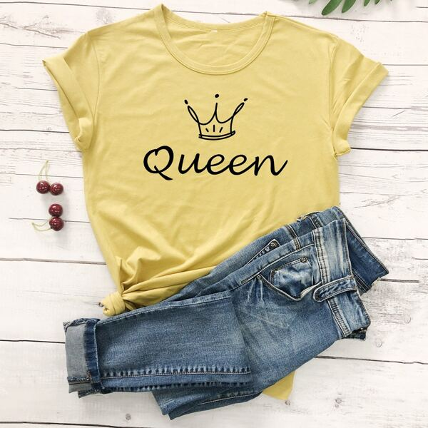 Crown & Letter Graphic Tee, Yellow pastel