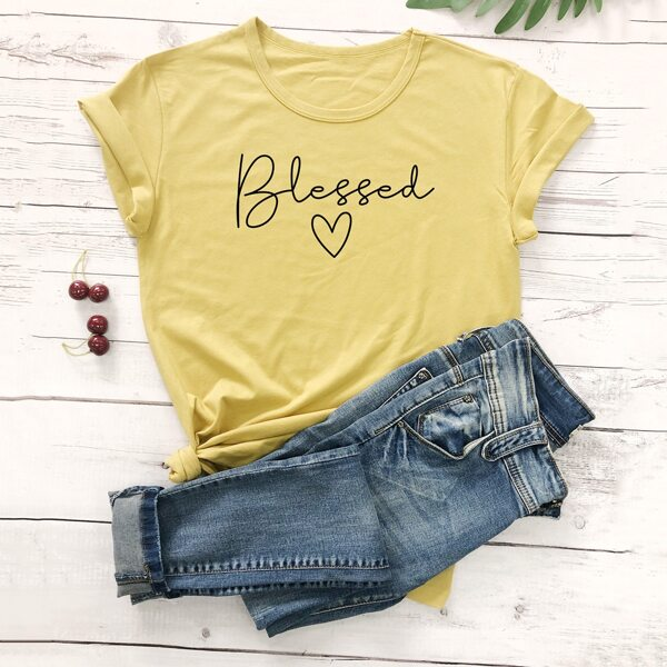Letter Graphic Round Neck Tee, Yellow