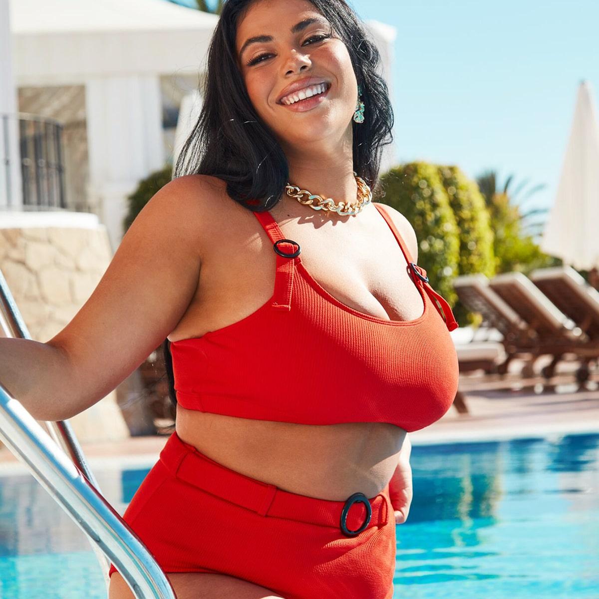Plus-rib bikiniset met hoge taille