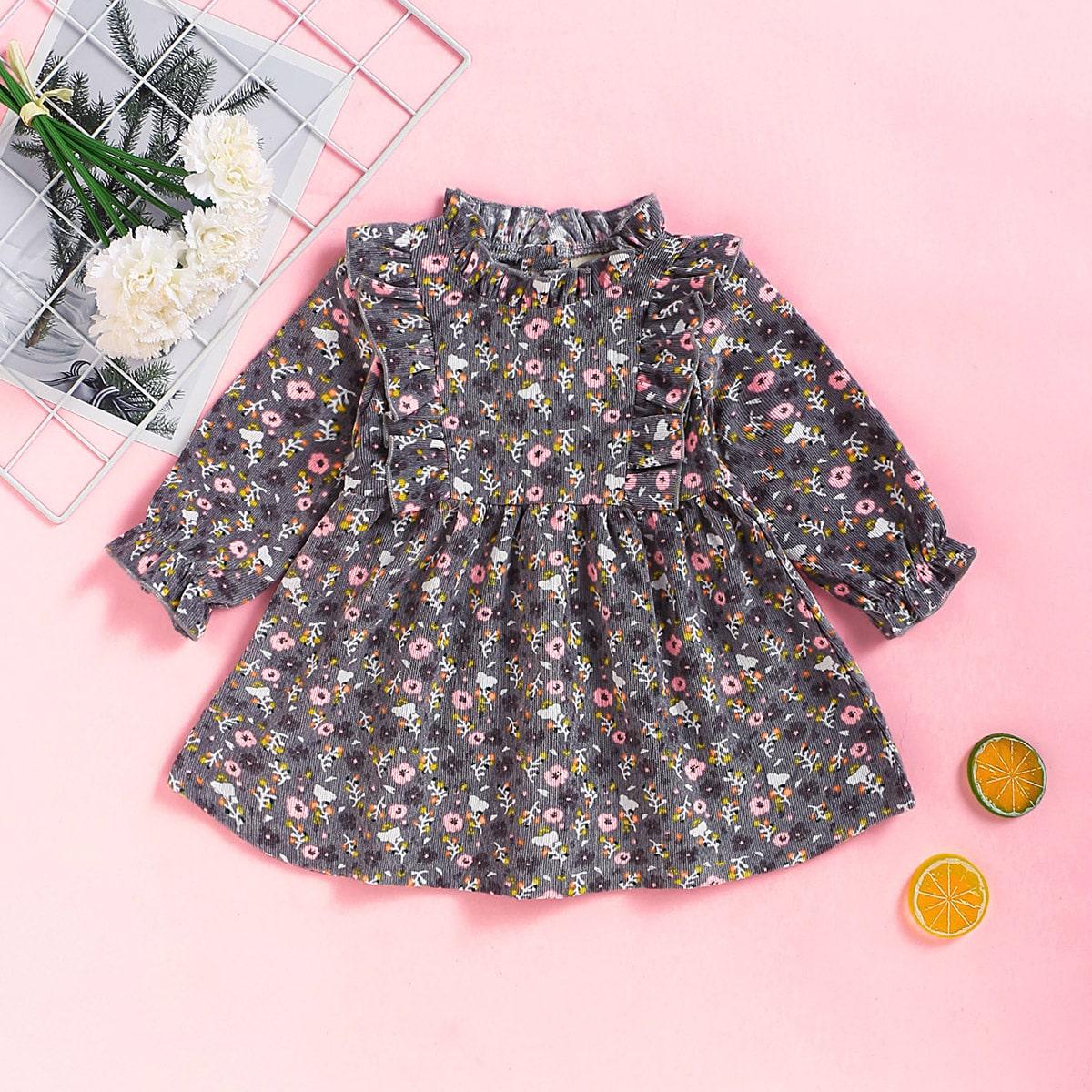 Вельветовое цветочное платье с оборками для девочек от SHEIN