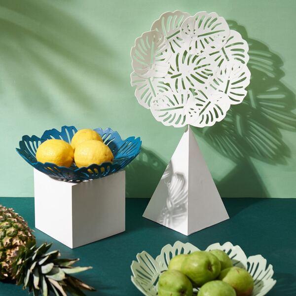 1pc Leaf Hollowed Out Design Fruit Basket, Multicolor