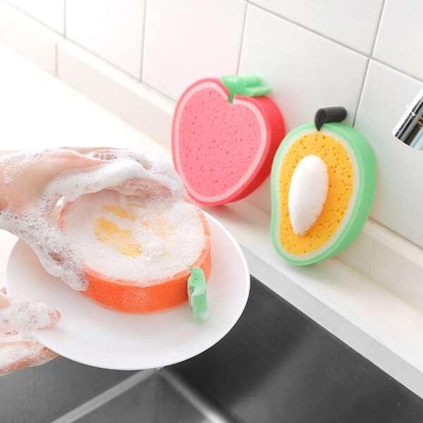 1pc Random Fruit Shaped Sponge Cleaning Brush