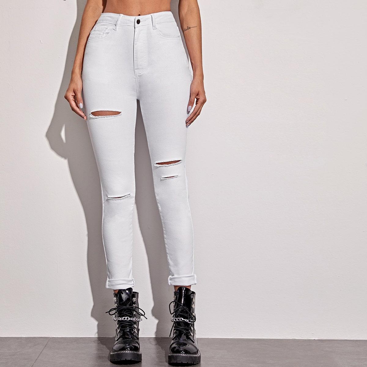 Wit Casual Vlak jeans Knoop