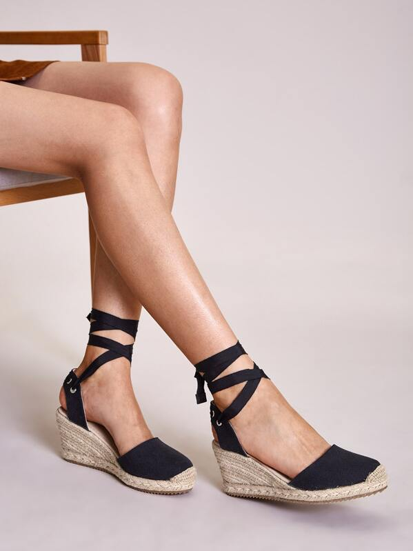 Tie Leg Espadrille Wedges, Black