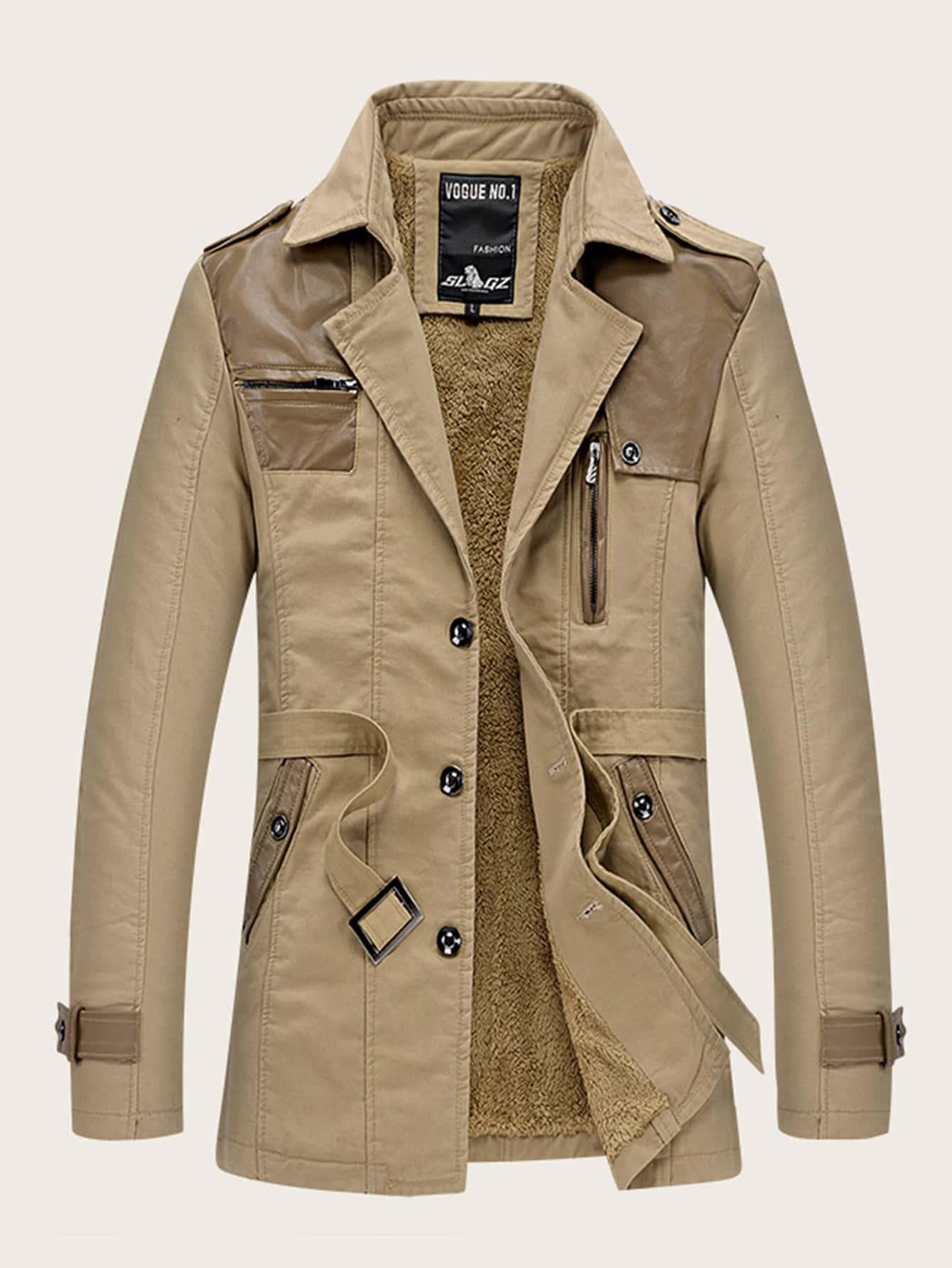 Männer Selbst Binden Sherpa Lined Trench Coat